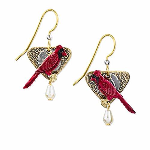 Silver Forest Cardinal Dangle Fashion Earrings