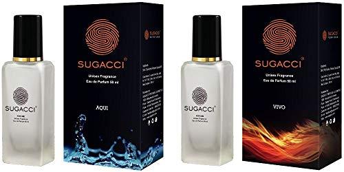 Sugacci Vivo Aqui Combo – Perfumes for Man and Woman – Eau de Parfum – 10 x More Perfume than Deo – 50ML x 2
