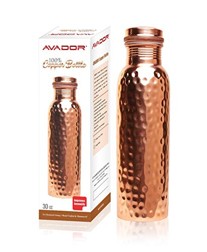 AVADOR Handcrafted 100% Pure Copper Water Bottle Vessel Hammered Finish 30 Oz. Leak Proof Gift Set Box Ayurveda Health Benefit