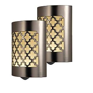 GE CoverLite LED Night Light, 2 Pack, Plug-In, Dusk-to-Dawn Sensor, Home Décor, Ideal for Kitchen Bathroom, Nursery, Bedroom, Hallway, 46815, Brushed Nickel   Moroccan, 2