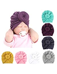 7/8 Pcs Kids Baby Bohemian Turban Headbands Super Soft Cotton Cute Turban Knot Caps