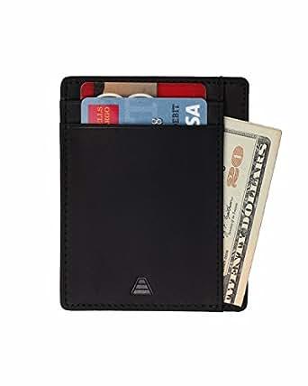 Andar Leather Slim Wallet, Minimalist Front Pocket RFID Blocking Card Holder Made of Full Grain Leather (Black)