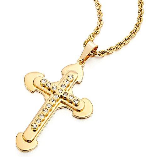 c5bfac07fb41 Buena Tres Capas Color Oro Grande Colgante de Cruz, Collar de Hombre ...