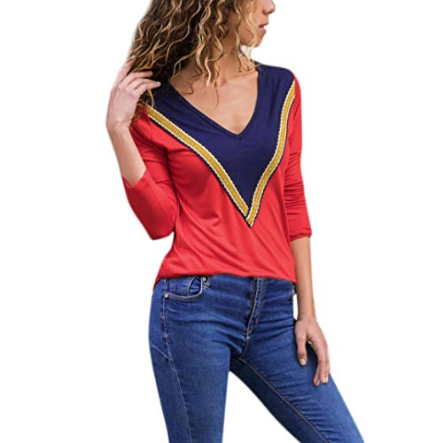 - vermers Clearance Women Casual T Shirt - Women V-neck Colorblock Long Sleeve Print Blouse Tops(L, Red)