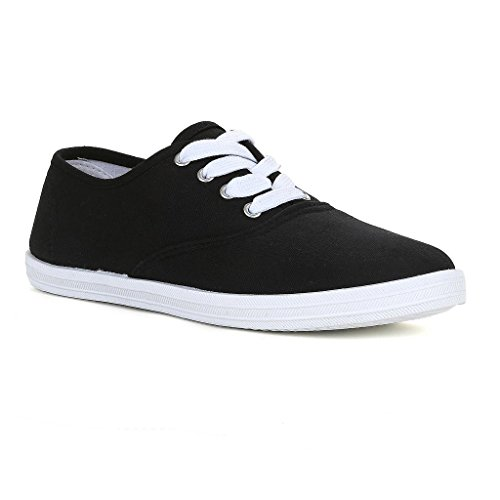 Twisted Women's Tennis Basic Athletic Lace Up Sneaker - Black, Size 7