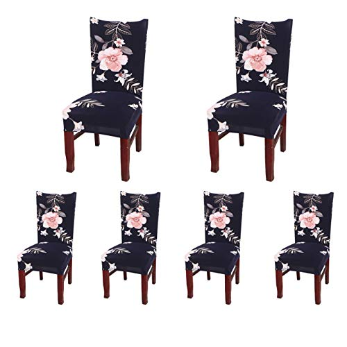 SoulFeel Set of 6 Dining Chair Covers, Stretch Spandex Dining Room Protector Slipcovers (Style 48, Black)