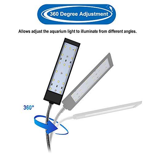 WOTERZI LED Aquarium Light Clip On Fish Tank Lighting Fit for 12-18 Inch Fish Tank & Aquarium White and Blue LEDs, 7W