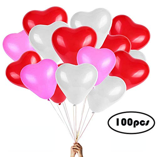 Heart Balloons - 100PCS 12 inches Red pink and Purple Latex Balloons for Wedding Decorations, Thicken Heart shaped matt balloon, Bride Shower, Birthday Party, Valentines day Balloons, New Year party d ()