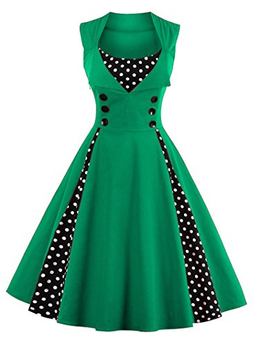LUNAJANY Women's Rockabilly Vintage Polka Dot Pin up Swing Cocktail Party (1940s Green)