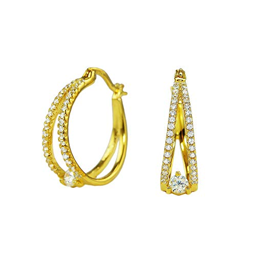 Gold Plated 925 Sterling Silver Round Cubic Zirconia Pave Split Shank Huggie Hoop Earrings
