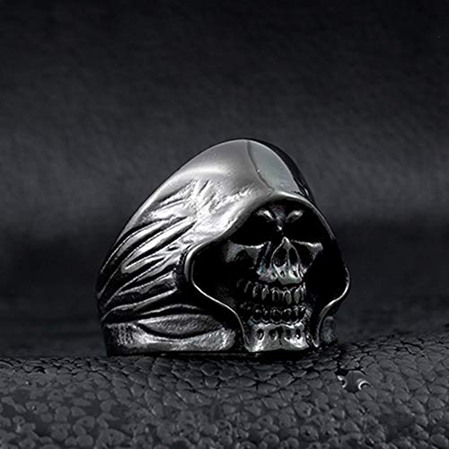 SAINTHERO Men's Large Vintage Biker Gothic Casted Death Grim Reaper Skull Stainless Steel Punk Ring Black Size 7 by MENSO (Image #5)