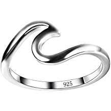 Chic 925 Sterling Silver Wave Cut Girl Ring,Designed for Women to Design Home Casual Wear