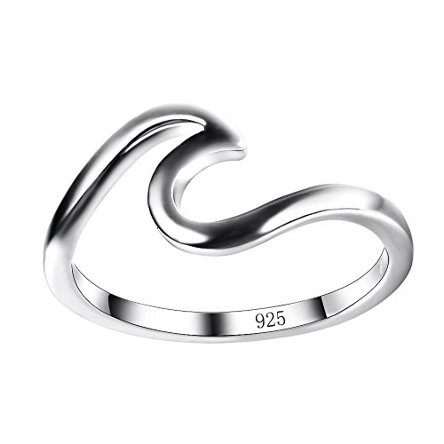 Chic 925 sterling Silver Wave Cut Girl Ring,Designed For Women To Design Home Casual Wear (Silver Sterling-Size 7.5)