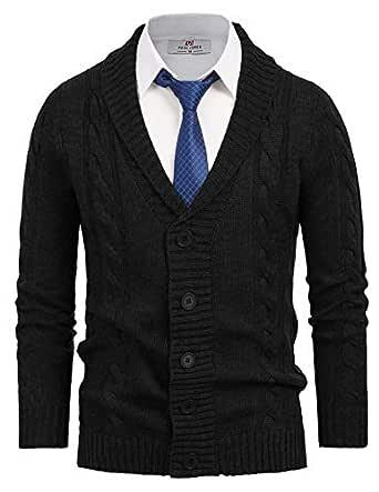 Paul Jones Men's Shawl Collar Knitwear Aran Cable Knit Cardigan Sweater - Black - Small
