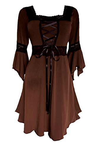 Dare to Wear Renaissance Corset Dress: Victorian Gothic Boho Plus Size Witchy Women's Gown for Everyday Halloween Cosplay Festivals, Walnut 1x ()