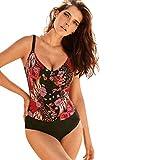 Mlide Women's Ladies Vintage Bikini Sets Beach Swimwear Solid One Piece Bandage Bikini Swimsuit Bathing Suit(Patchwork Red,M)