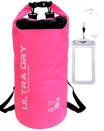 Premium Waterproof Bag, Sack with Phone Dry Bag and Long Adjustable Shoulder Strap Included (Pink, 20 L)