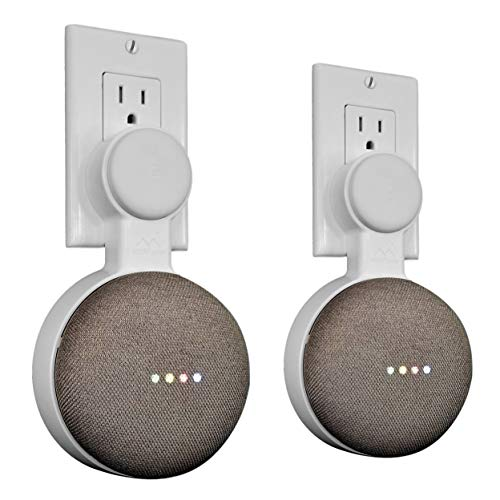 Mount Genie Affordable Essentials Google Home Mini Outlet Wall Mount Hanger Stand | A Low-Cost Space-Saving Solution (White, 2-Pack)