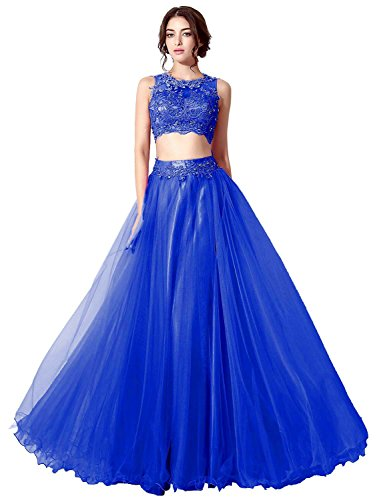 Sheer Royal Gown Two Neck Prom Ball Belle Blue Piece Long House Party Senior's Dress PqwcpE7
