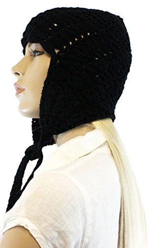Fashion Dimensions Black Knitted Cotton Pom Pom Dangle Trapper Hat