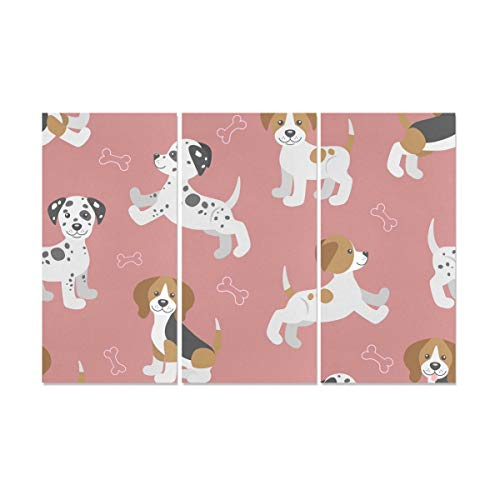 QiyI 3 Panel Painting Wall Cartoon Cute Clever Beagle Pet Animal Wall Art of Women Wall Art Decor Canvas for Painting Walls for Home Living Room Bedroom Bathroom Wall Decor Posters