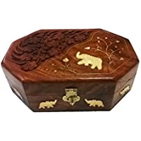 Bignay fatto a mano in legno elefante intarsio e intaglio case, wedding Jewelry Box Gift Box, organizer per gioielli, anello box–15,2cm