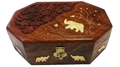 Bignay Wooden Handmade Elephant Inlay & Carving Case, Wedding Jewelry Gift Box, Jewelry Organizer Box, Ring Box - 6 Inch