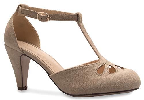 (OLIVIA K Women's Mary Jane Block Stacked Chunky Pumps Heel - Vintage Retro Round Toe Shoe with Ankle Strap,Black Velvet,10 B(M) US)