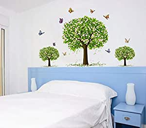 Tree Flower Butterfly Bedroom Children'S Room Background Sticker