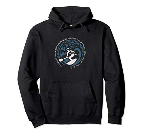 Santa Barbara Paddle Surfing Hoodie Top For Surf Lovers Fans ()