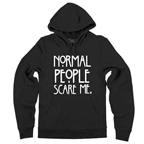 (Men's Hooded Sweatshirt Normal People Scare Me, TV USA Horror Shirt Black XL)