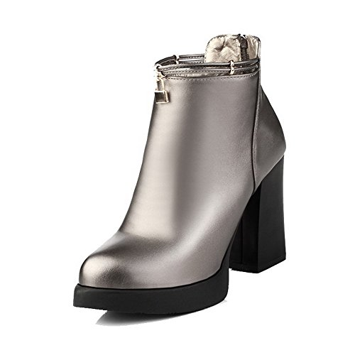 Boots High Pointed PU top Toe Closed Low Women's Heels Allhqfashion Silver Solid OgHRqxvfwn