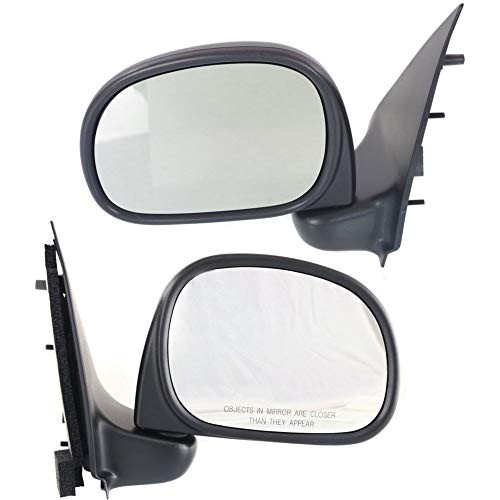 - Manual Mirror compatible with Ford F-Series 97-02 Right and Left Side Manual Folding Paddle Style All Cab Types New Body Style Textured Black