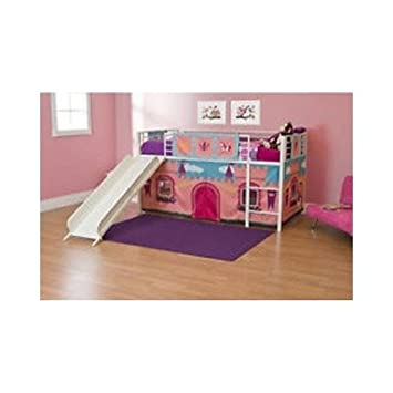 Girls Loft Bed With Slide Princess Tent Canopy Castle Twin With Curtain Bunk Bed  sc 1 st  Amazon.com & Amazon.com: Girls Loft Bed With Slide Princess Tent Canopy Castle ...