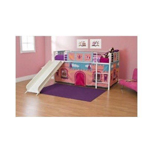 Girls Loft Bed With Slide Princess Tent Canopy Castle Twin With Curtain Bunk Bed