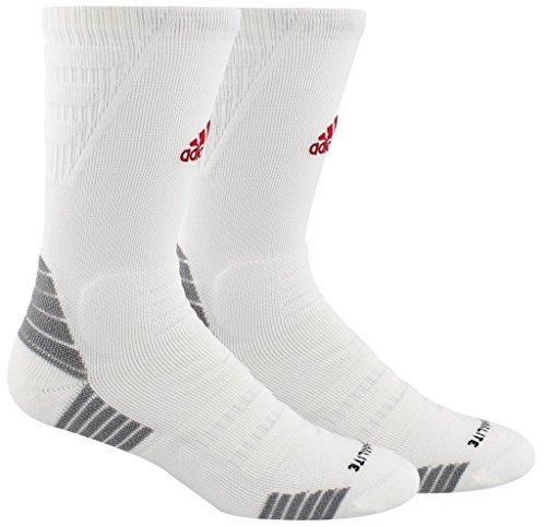 adidas Alphaskin Maximum Cushioned Crew Socks (1-Pack), white/light Onix/power red, 5-8.5