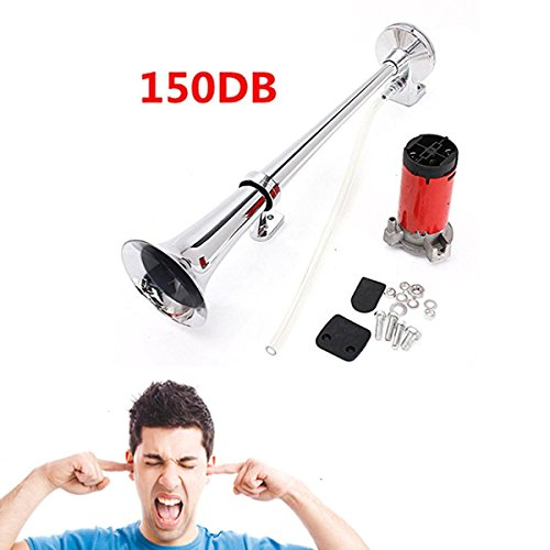 AUDEW 12V Single Trumpet Air Horn Chrome + Compressor Super Loud 150db For Truck Lorry Boat Train (Loud Truck Horn compare prices)