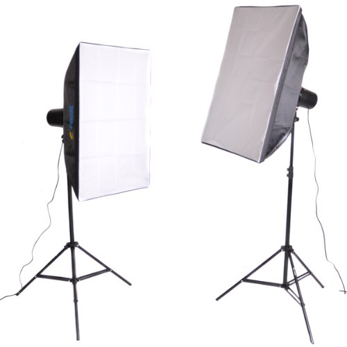 CowboyStudio 360 Watt Photo Studio Monolight Flash Lighting Kit - 2 Studio Flash/Strobe, 2 Softboxes