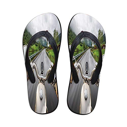 (Man Cave Decor Comfortable Flip Flops,Biker Rides Motorcycle Highway Lifestyle Speed Adventure Foggy Rural Area Decorative for Pool Garden,US Size 10)