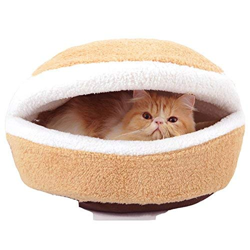 Cheap Hamburger Pet Bed with Cover Removable, 2-IN-1Not lint Windproof Detachable Shell Bed Soft Sleeping House Hamburger Hide Warm Home for Cat Small Dog (M)
