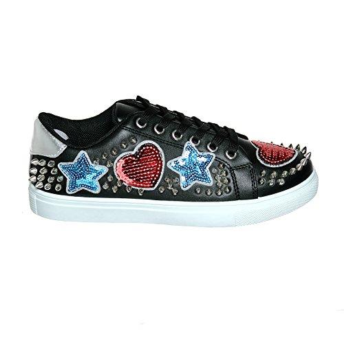 Shoewhatever Ny Ankomst !! Kvinna Grafisk Formgivare Spets-up / Slip-on Mode Sneaker Blackg