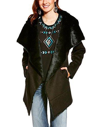 Coat Faux Fur Suede (Ariat Women's SIA Bonded Suede Faux Fur Coat Black Large)