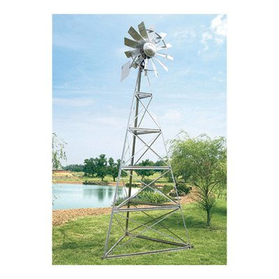 Outdoor Water Solutions AWS0011 12-Feet Galvanized 3-Legged Aeration System Windmill ()