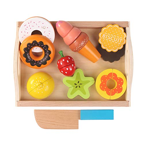 Huangyingui Wooden Cutting Toy Set Children's Educational Toys - Children's Kids Cutting Birthday Party Kitchen Food Simulation Toys, Role Playing Toys ( Color : 3 ) by Huangyingui