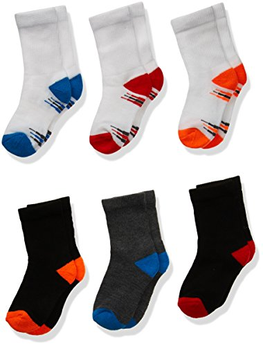Fruit of the Loom Baby Boys' Crew 6 Pack Sock, Assorted, 7.5-11 ()