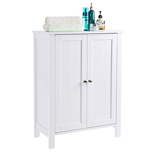 SONGMICS Bathroom Floor Storage Cabinet with Double Door Adjustable Shelf White UBCB60W by SONGMICS (Image #4)