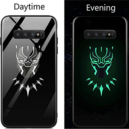 Luminous Glass Case Venom Deadpool Black Panther Iron Man for Samsung Galaxy S8 S9 S10 e Plus Note 9 8 Fashion Luxury Eye-Catching Phone Cover (Black Panther, Samsung S10 Plus) (Cell S5 Phone Case For Panther)