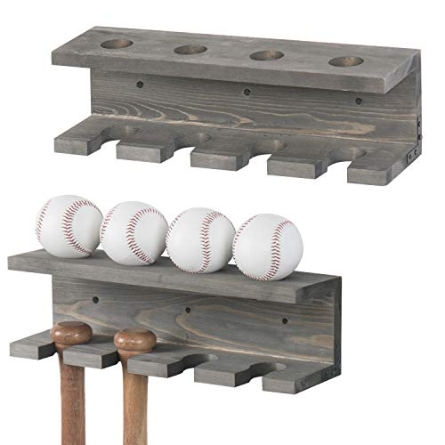 MyGift Wall Mounted Gray Wood Baseball Bat Rack & Ball Storage Shelf, Set of 2
