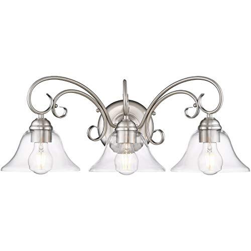 Golden Lighting 8606-BA3-PW-CLR Homestead 3 Light 24 inch Pewter Bath Vanity Light Wall Light
