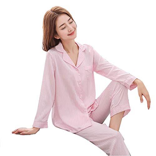Solapa Manga Jacquard Y Pijamas Satén color De Traje Huifei Red Xxl Larga Casa Pink Primavera Tamaño Para Otoño Mujer 8tqw1